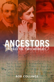 "Cover image of ""Ancestors: A Tale of Two Worlds"" by Rob Collinge & link to Amazon page"