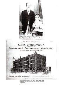 Photo of George & Elfrieda above an old advert