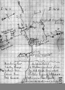 Hand-drawn map of World War I trenches by  Wharton Collinge